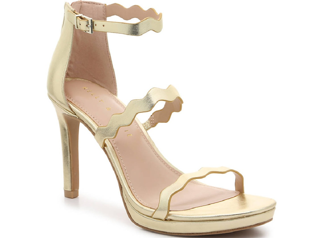 gold strappy open-toed high heel sandals