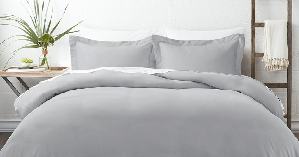 bed set with grey bedding
