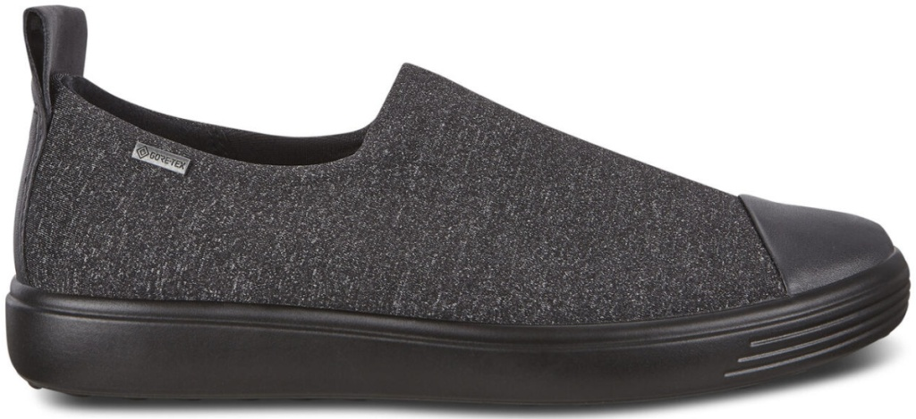 gray slip on shoes with black soles