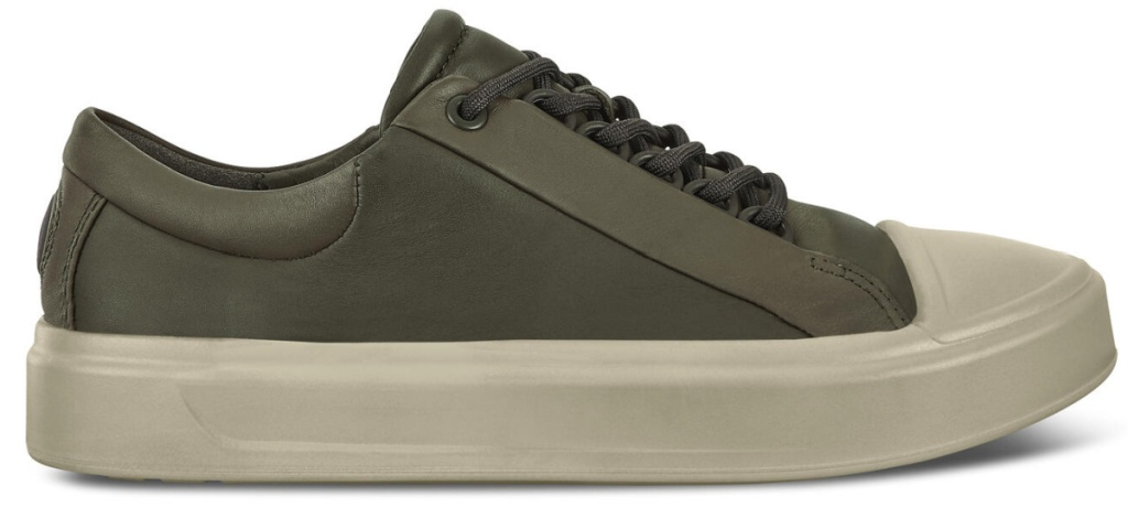 olive green lace up shoes with white soles