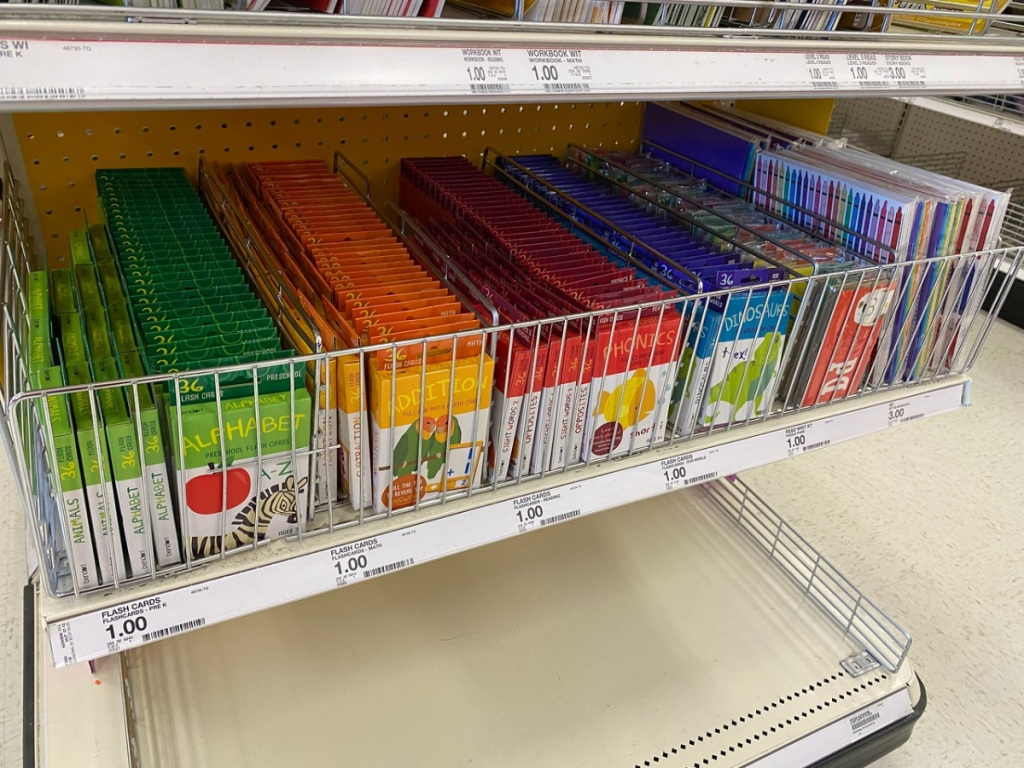 store display with boxes of flashcards