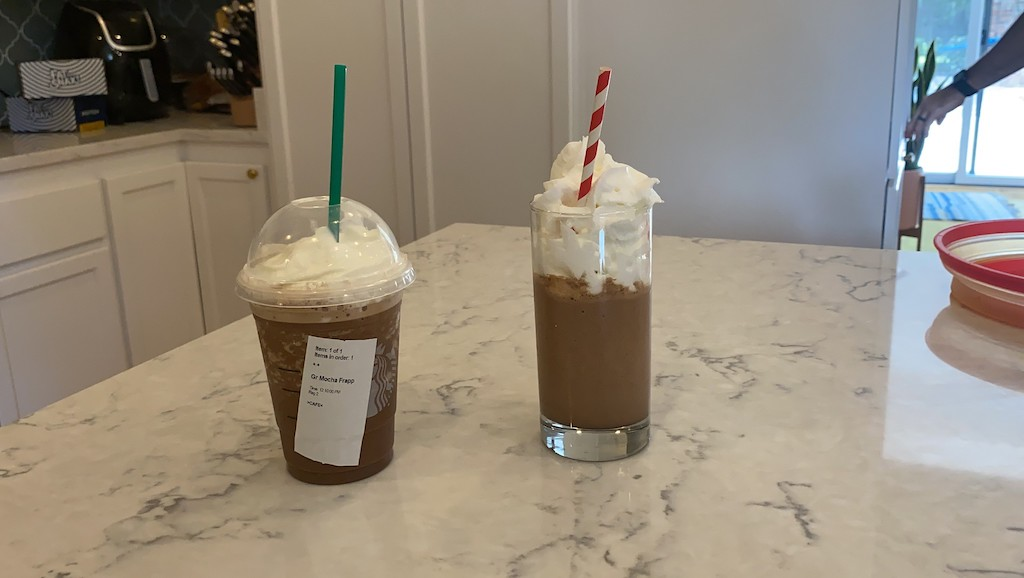 frappuccino drinks with whipped cream on kitchen counter