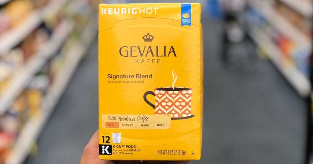 gevalia 12 count k-cups in person's hand