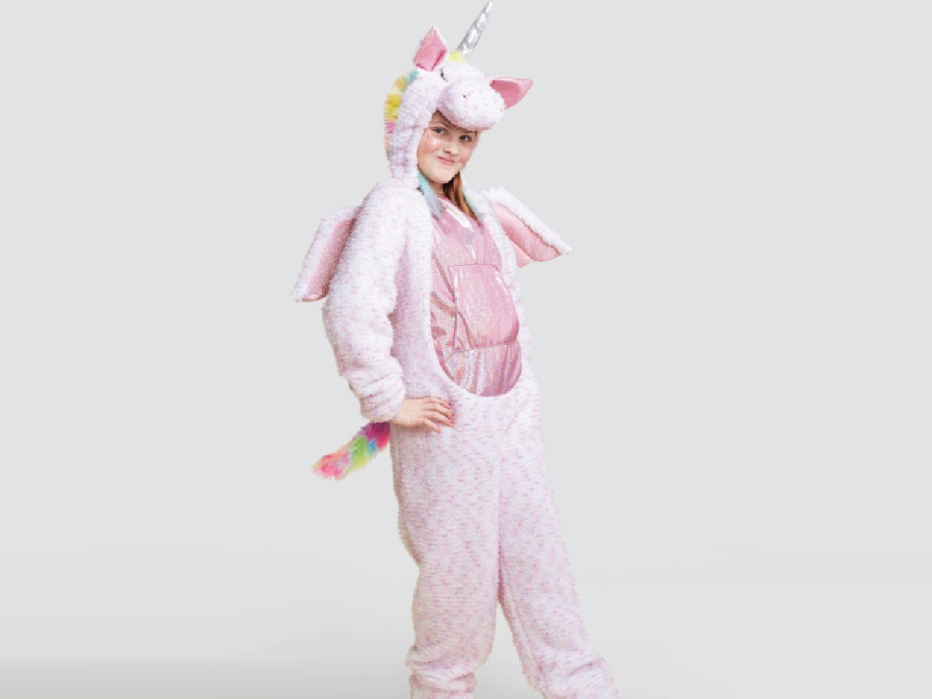 girl wearing Adaptive Plush Unicorn Halloween Costume Jumpsuit