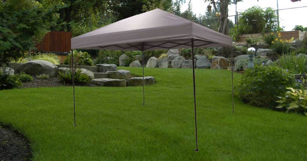 gray canopy set up in yard