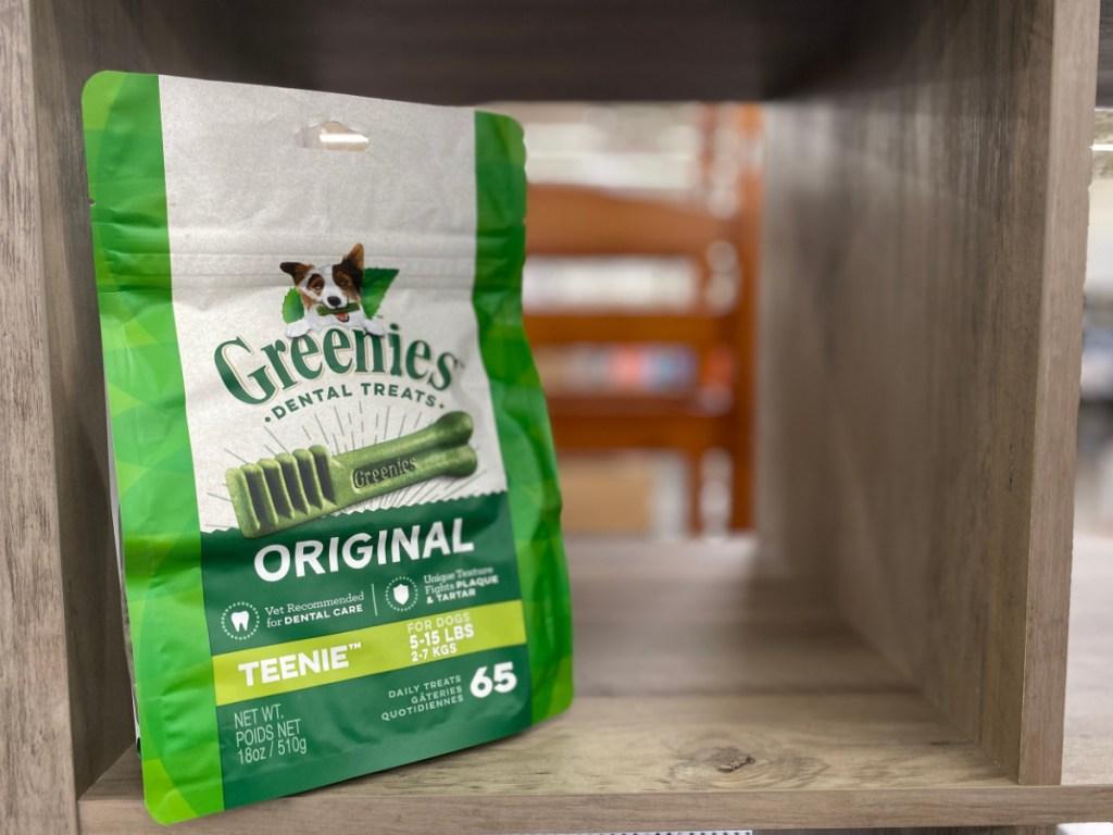 greenies dog treats on store shelf