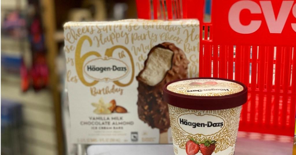 Haagen-Dazs ice cream with CVS basket