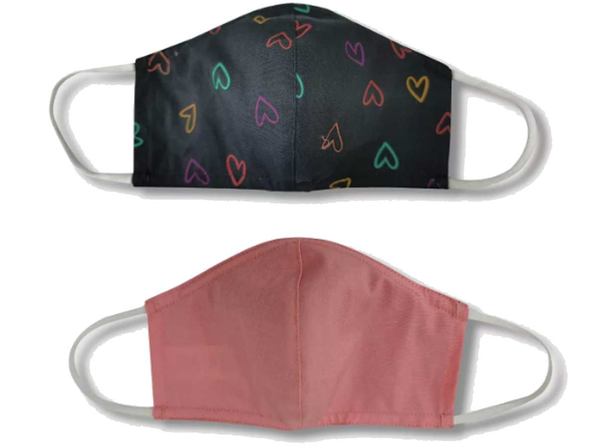 heart and pink face masks kids