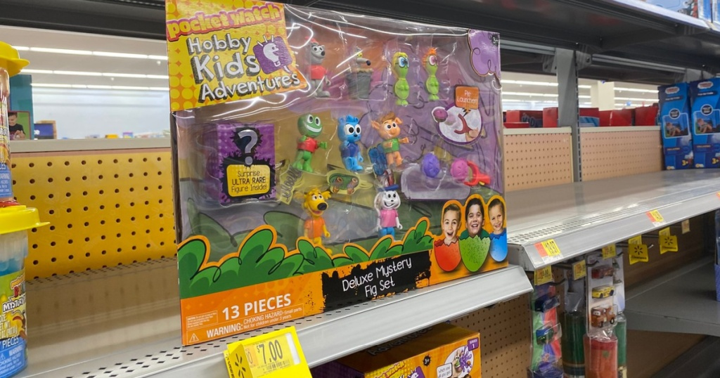 toy in package on shelf in store with clearance tag