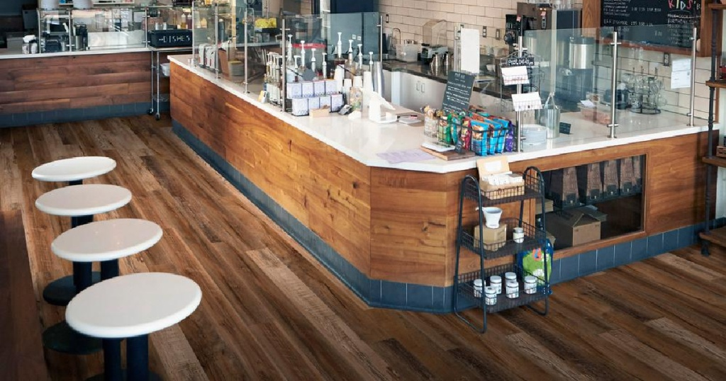 wood flooring in coffee shop