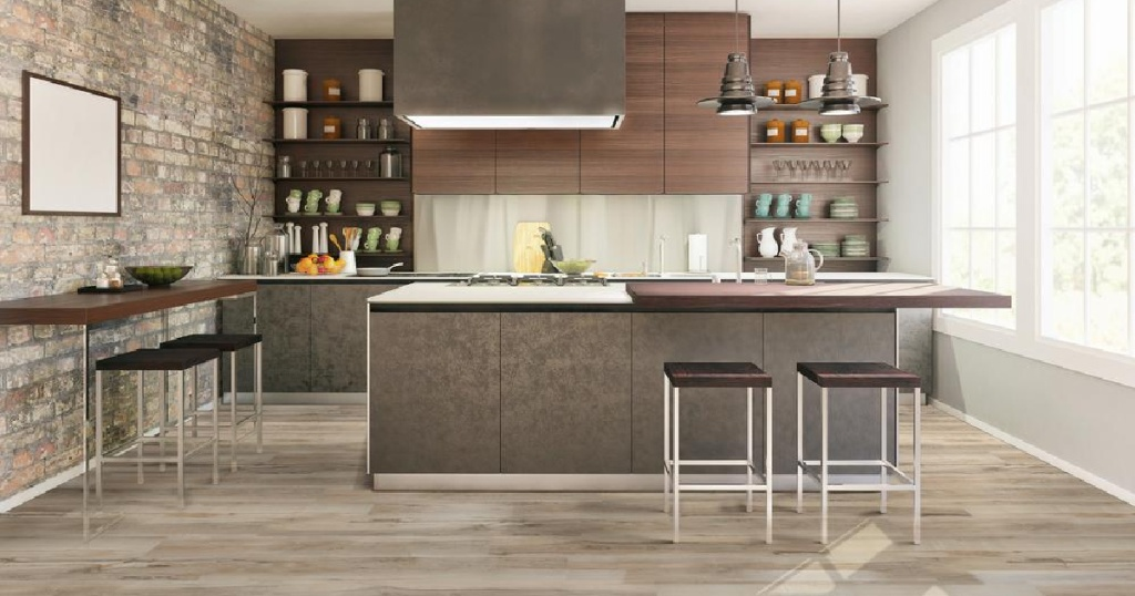 light wood flooring in kitchen