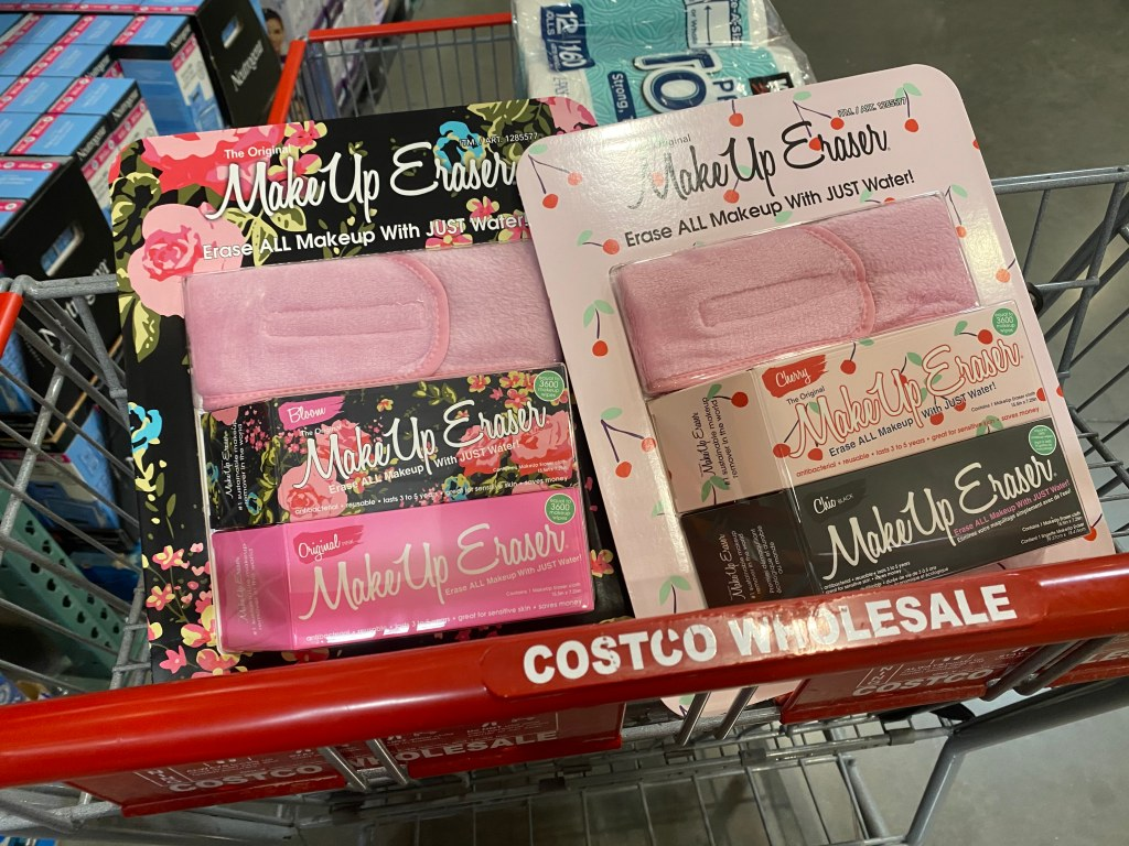 two packagesof the Original Makeup Remover two-packs in cart at Costco