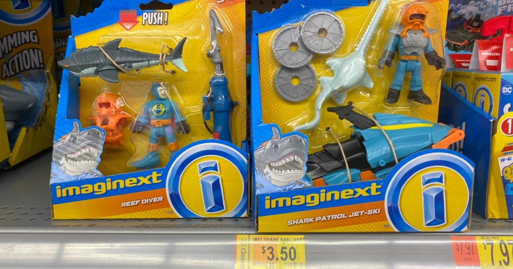 toys on store shelf with price tags