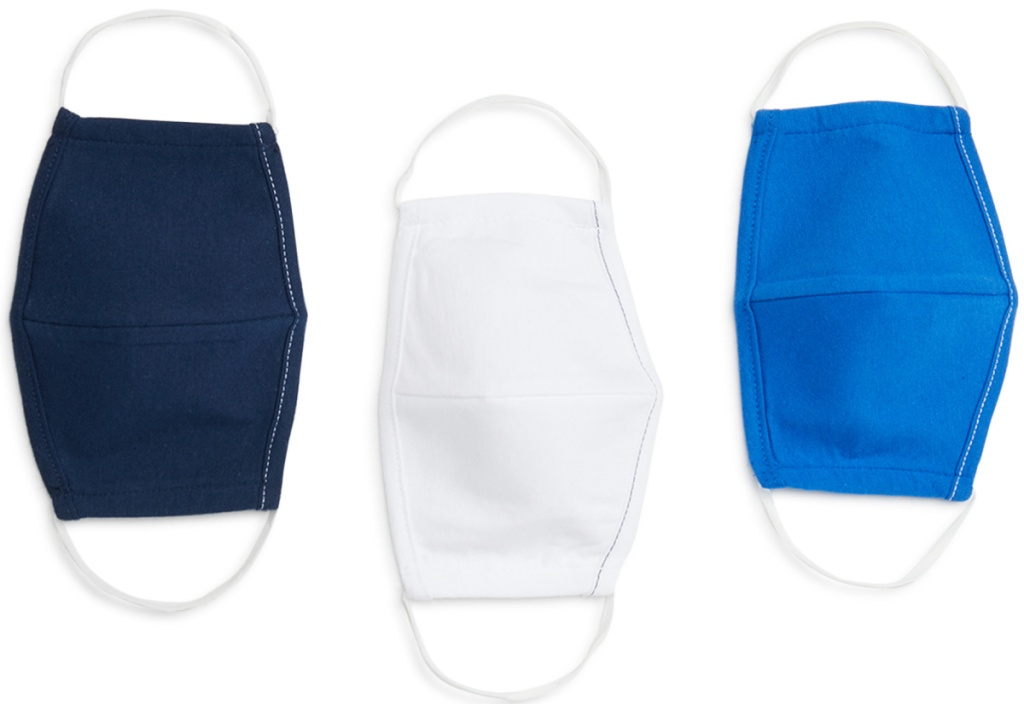 blue and white fabric masks