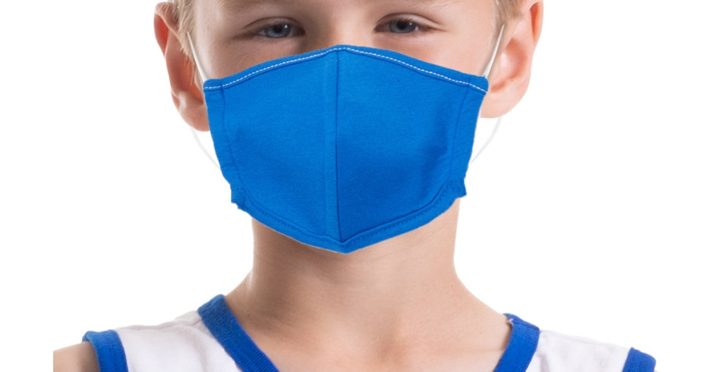 boy wearing bright blue reusable fabric face mask