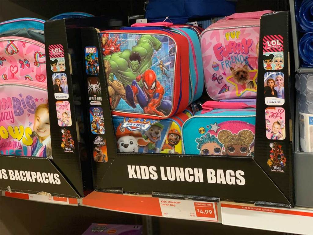 colorful character kids lunch bags on display in store