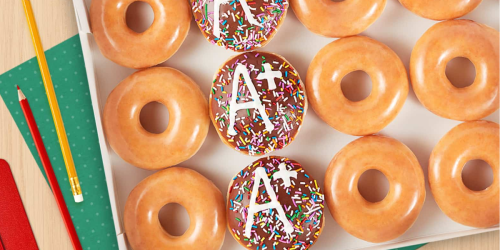 "FREE Krispy Kreme Straight ""A"" Dozen w/ Any Dozen Purchase on August 11th + FREE Coffee & Donut for Teachers"
