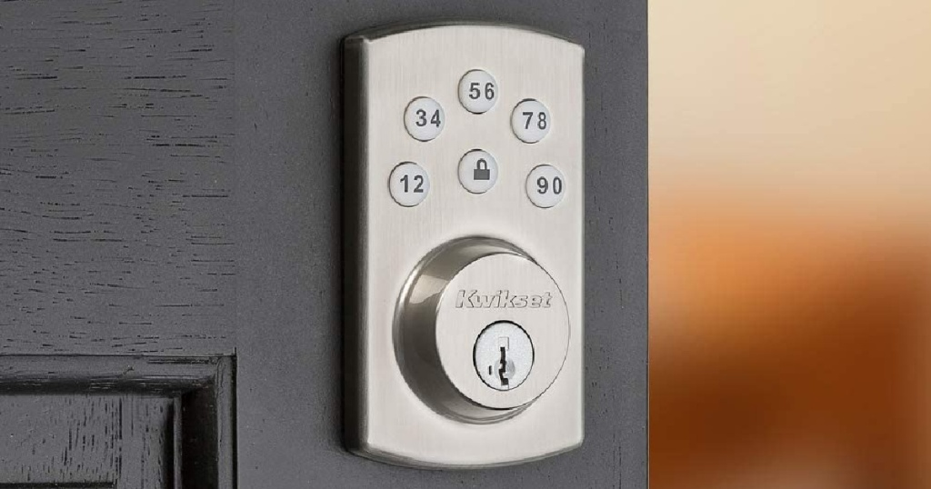 Kwikset lock on gray door
