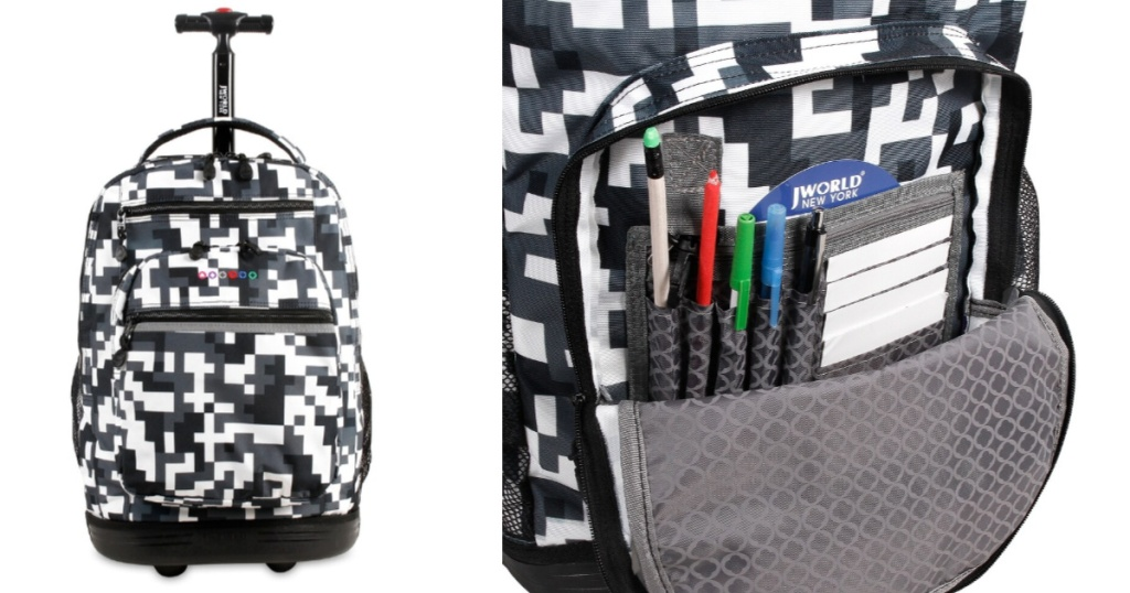 front and inside view of rolling laptop backpack