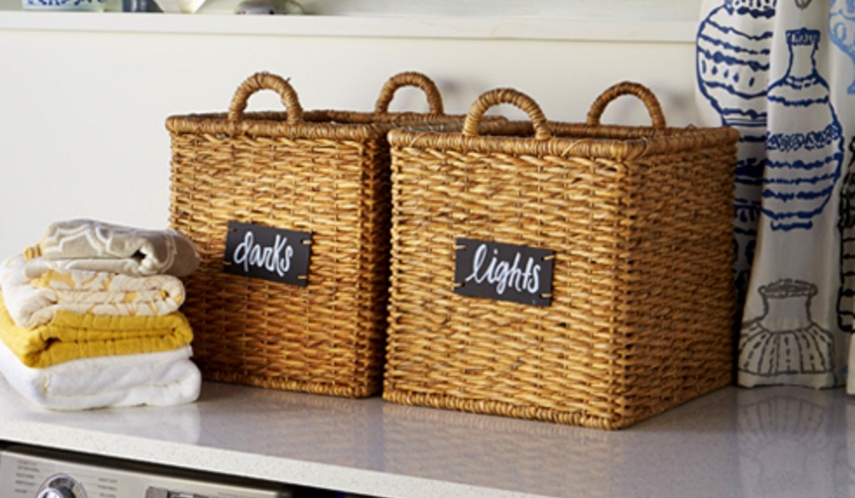 wicker laundry baskets with chalk stickers