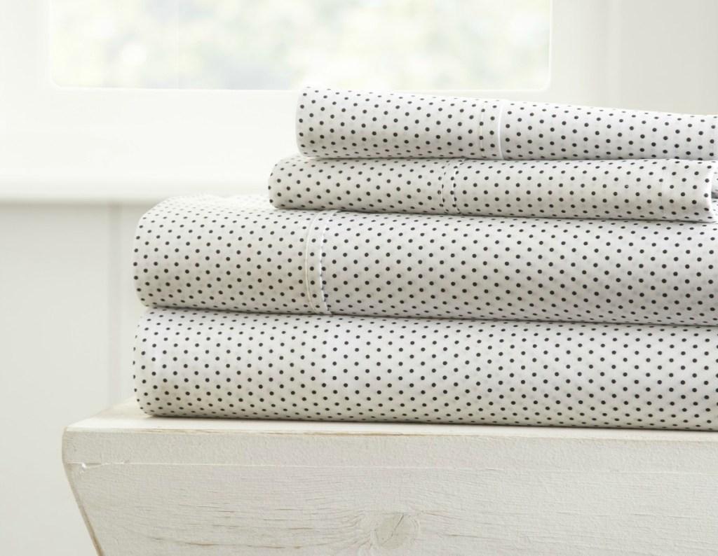 black and white polka dot sheets