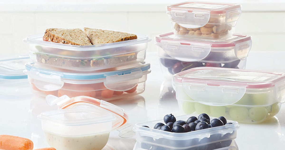 assorted lock n lock containers with sandwich and fruit