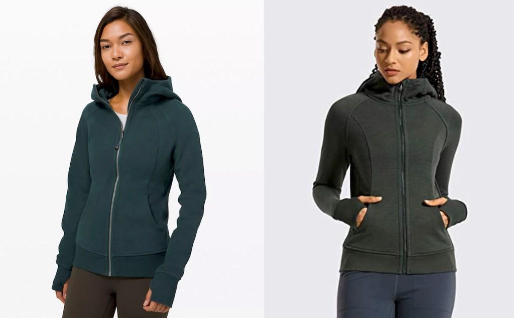 two woman side by side wearing dark colored lululemon dupes hoodies