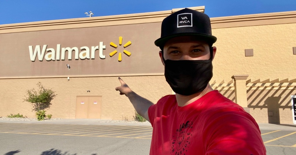 man wearing a mask at Walmart store