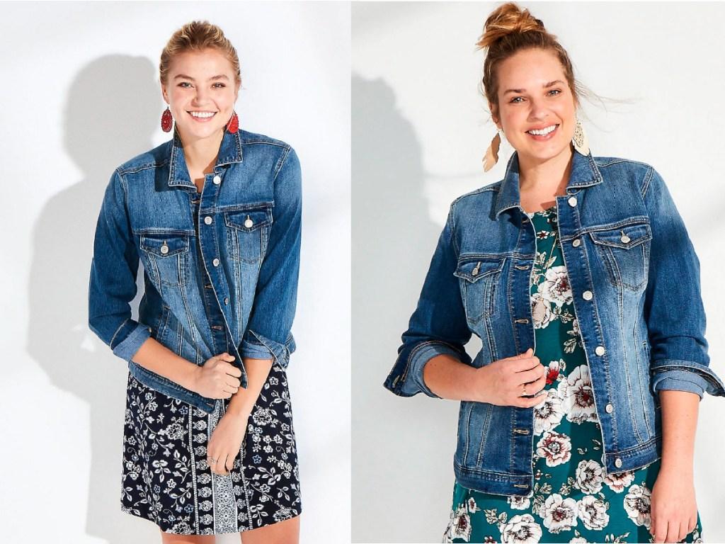 women wearing jean jackets