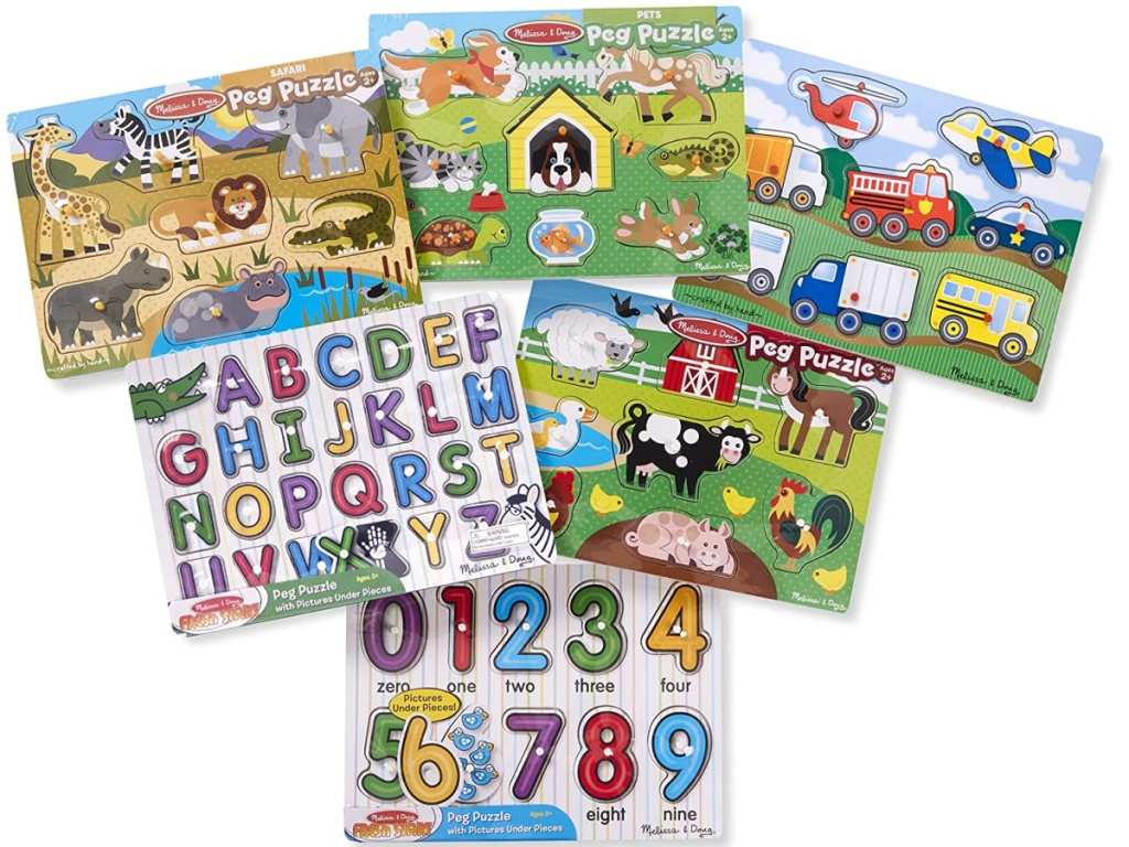 sset of six puzzles for children on white background