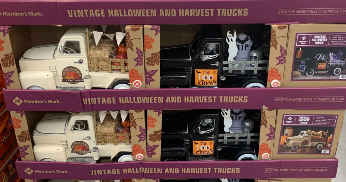 vintage halloween and fall trucks on store display