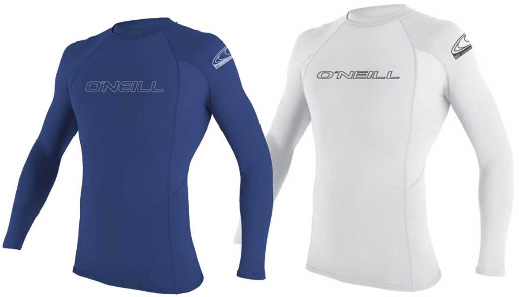men's rash guards in blue and white