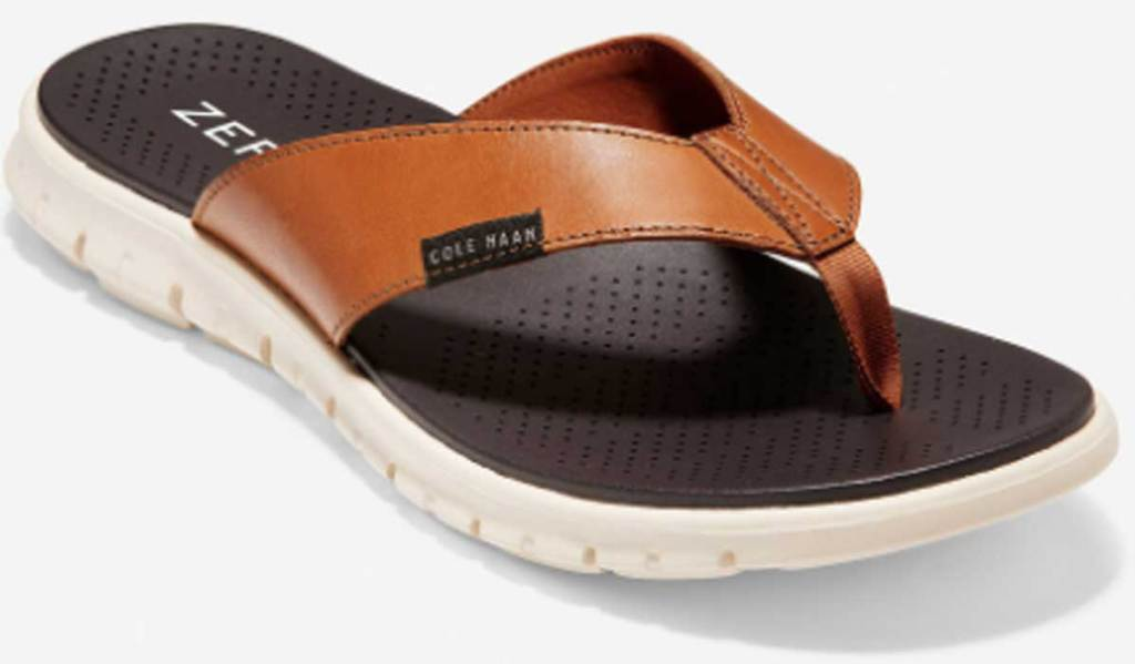 men's tan colored flip flop