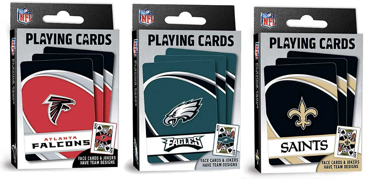 three sets of football cards