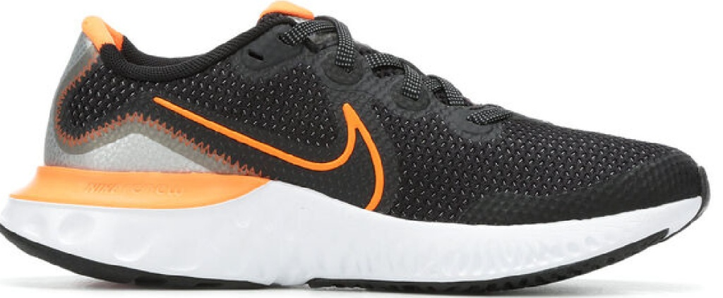 black and orange shoes with white sole