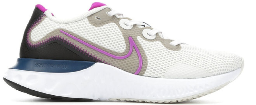 white and tan and pink and black shoes wit navy and white sole