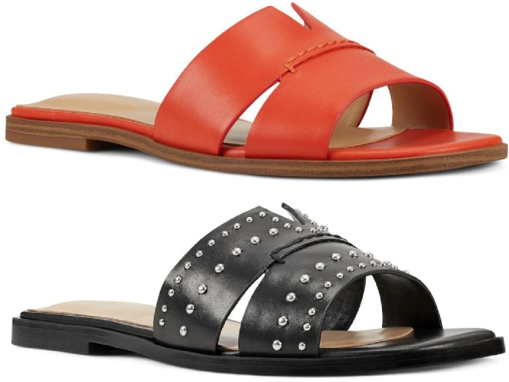 sandals for women, one is red and one is black
