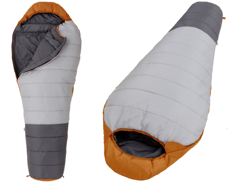 2 views of a gray and orange sleeping bag on white background
