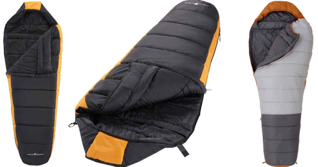three sleeping bags at different angles on white background