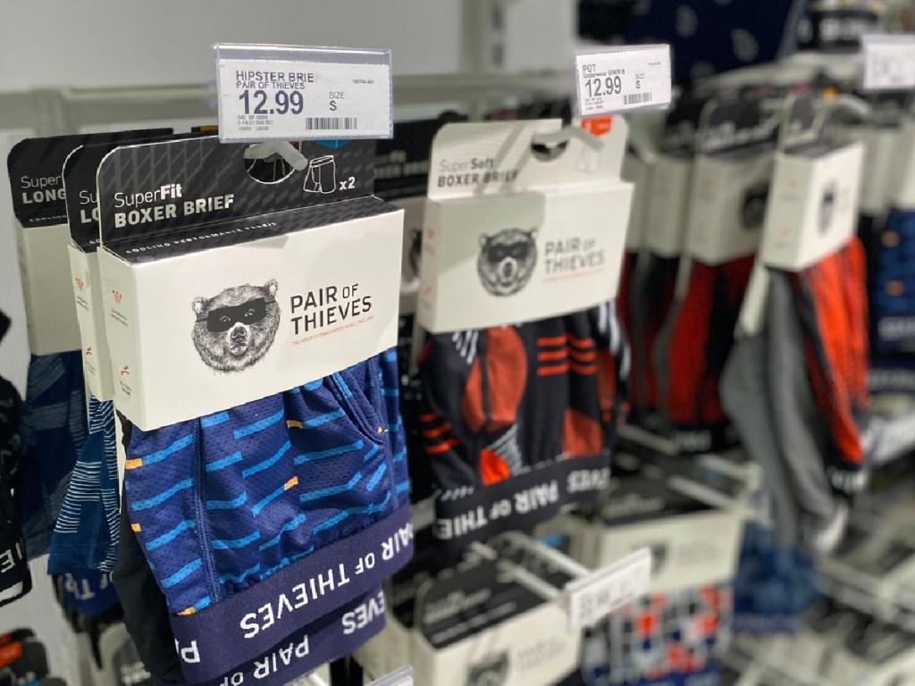 men's underwear packages hanging in store