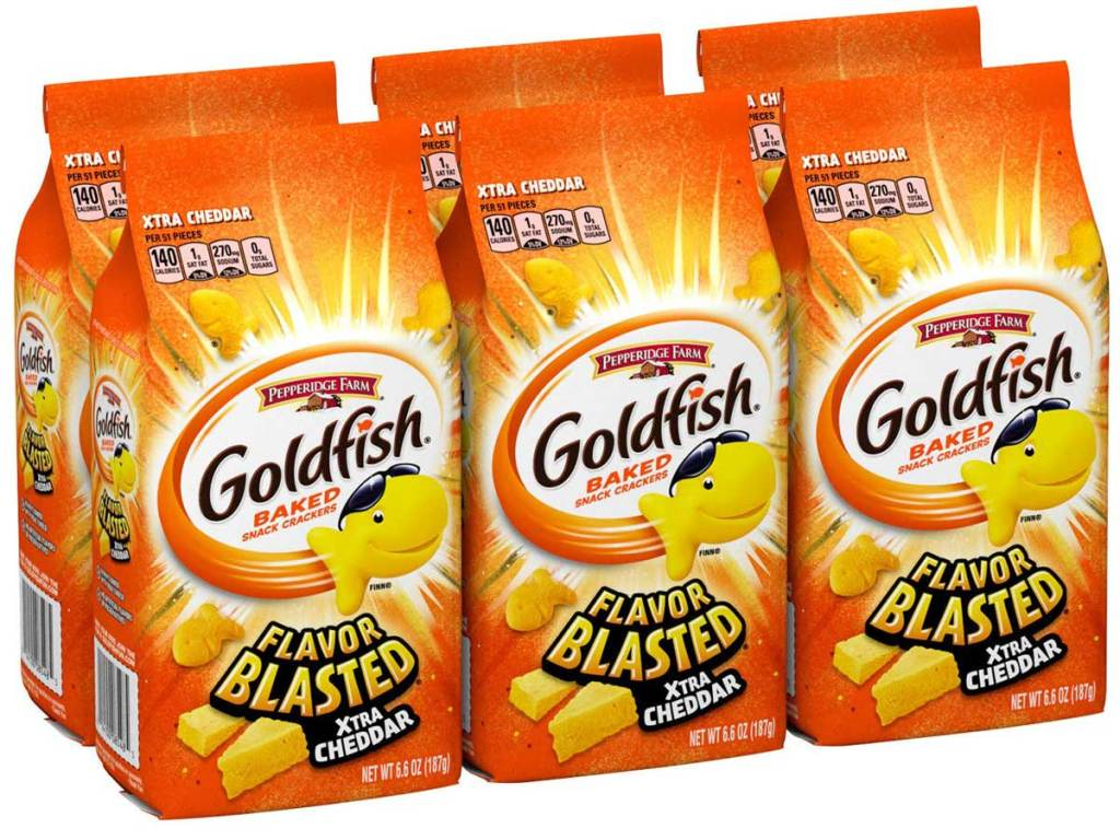 stock image of six bags of fish shaped crackers