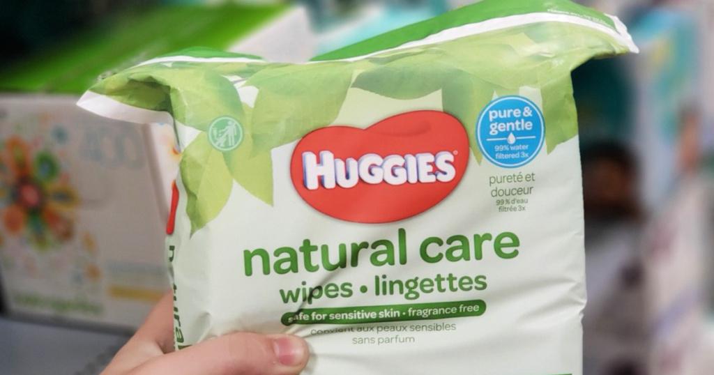 huggies natural care wipes in bag