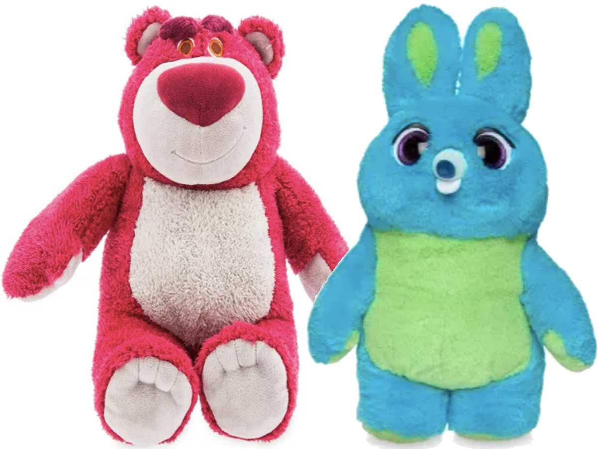 disney pixar plushes in pink and blue