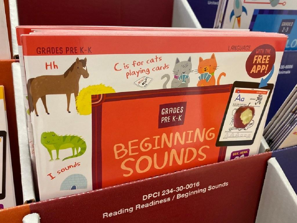 workbooks on store display