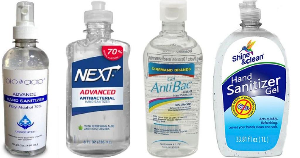 bottles of hand santizer on white background