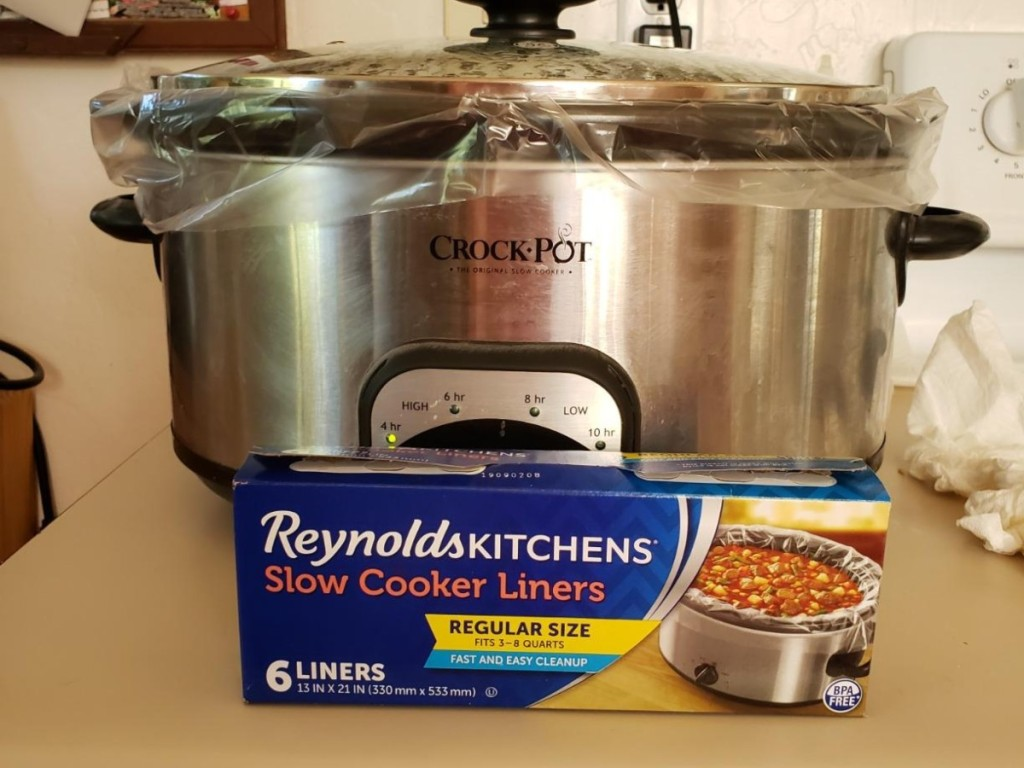 box of slow cooker liners in front of slow cooker