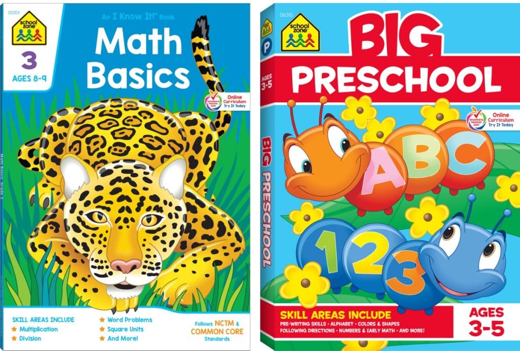 school zone math basics and big preschool workbooks