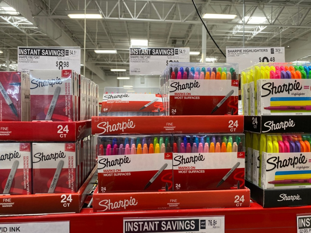 large display of school supplies on store shelf