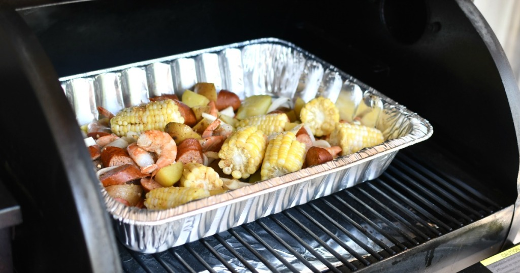 sheet pan shrimp boil in the grill