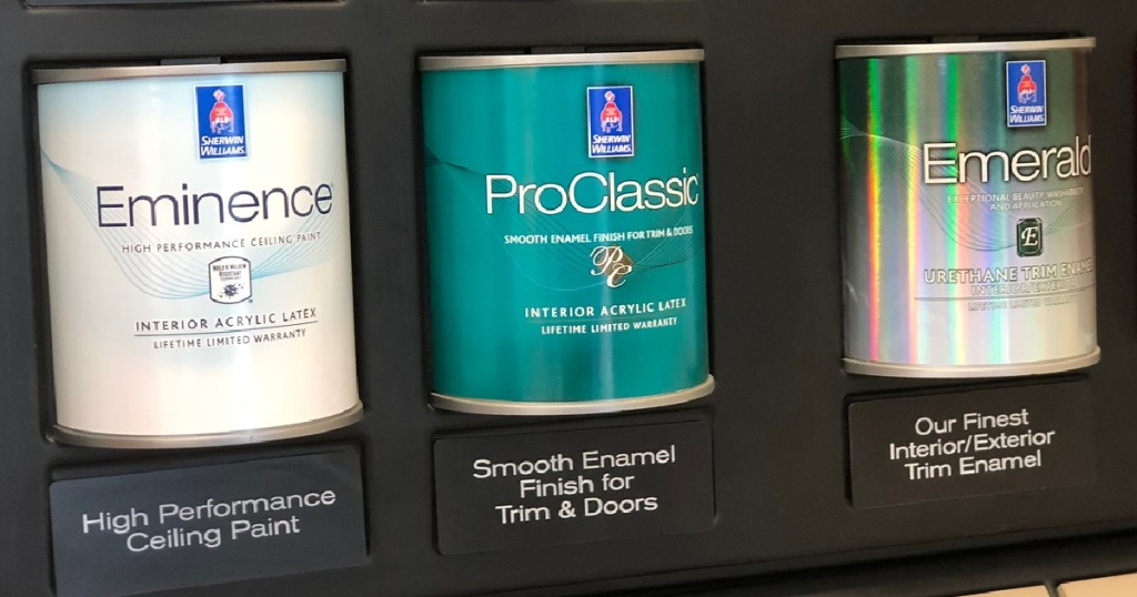 3 cans of paint on display in store